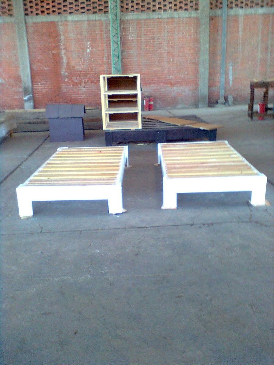 Bases de madera para cama 1 en mercado libre for Como hacer una base para cama individual