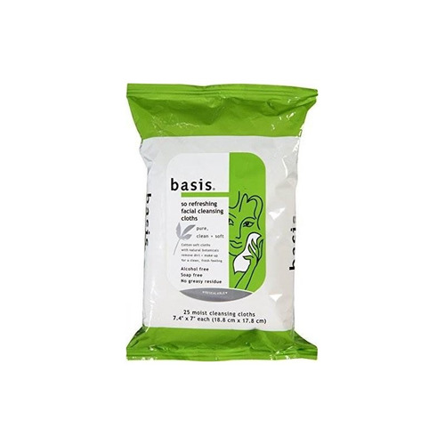 basis so refreshing facial cleansing cloths 25 ct (paquete d