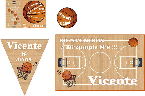 basquet basket kit cumpleaños  banderines stickers cartel