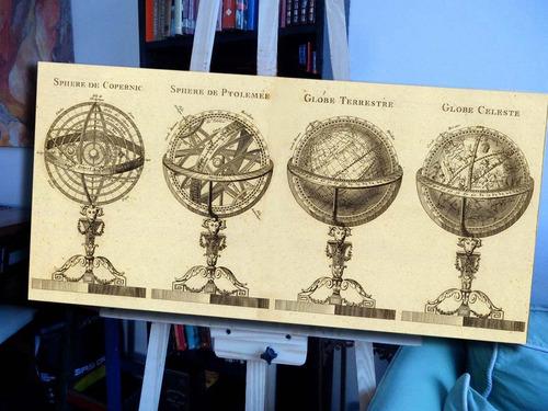 bastidor globos terraqueos en lienzo 100x50