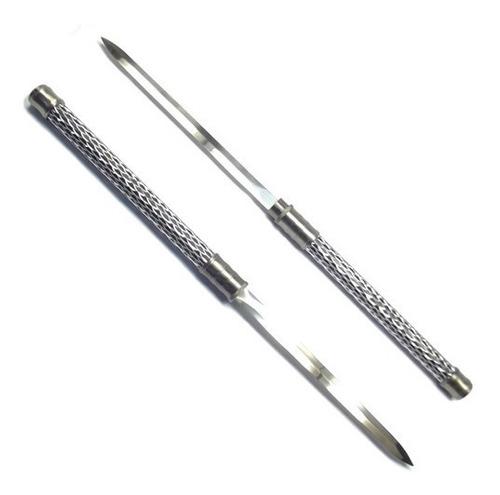 bastão 63cm espada dupla lâminas embutidas adaga + suporte