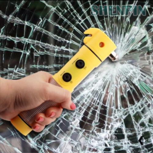 bastão corta cinto segurança quebra vidro salva vida c / luz