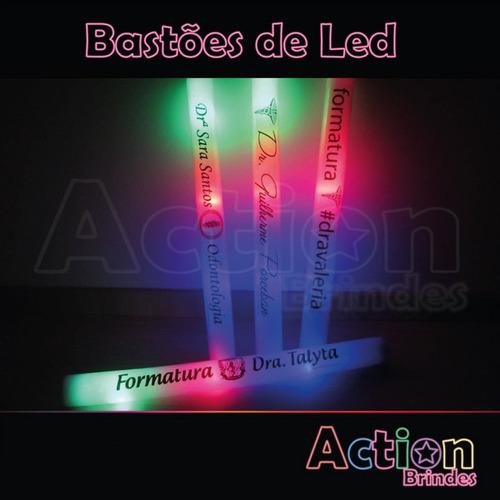 bastão de led personalizado - kit 20un + 5 balões de led