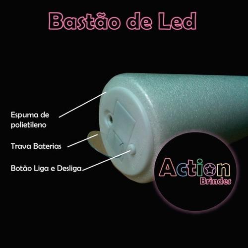 bastão de led personalizado - kit 60 un + 5 balões de led