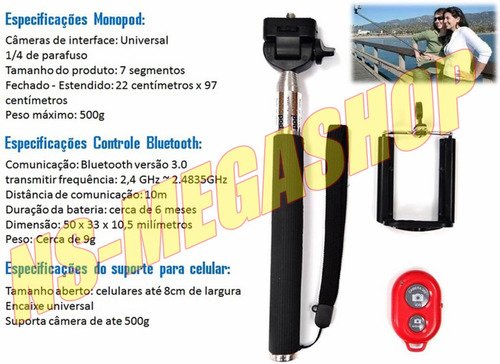 bastão monopod bluetooth + controle remoto