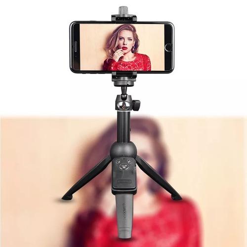 bastão pau de selfie e tripe bluetooth para celular e câmera