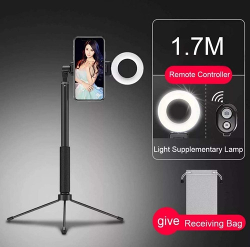 bastão pau selfie 1.70mt tripé bluetooth 3 em 1 led ring 059