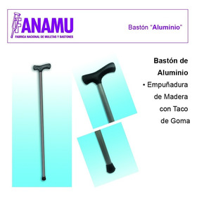 Baston De Aluminio Con Mango De Madera