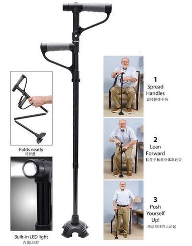baston doble apoyo 4 patas lampara linterna plegable