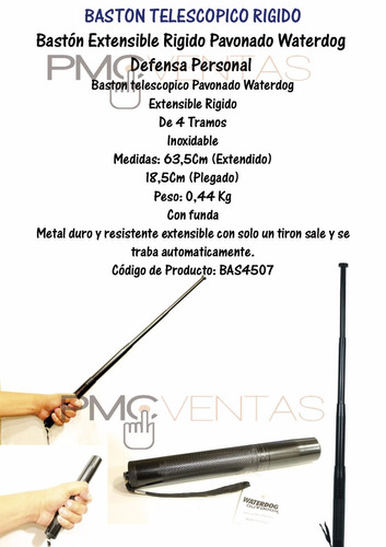 bastón extensible rigido pavonado waterdog defensa personal