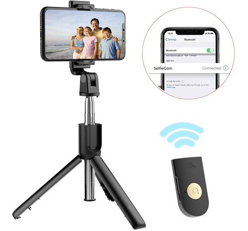 bastón monopod bluetooth soporte tripode palo selfie celular
