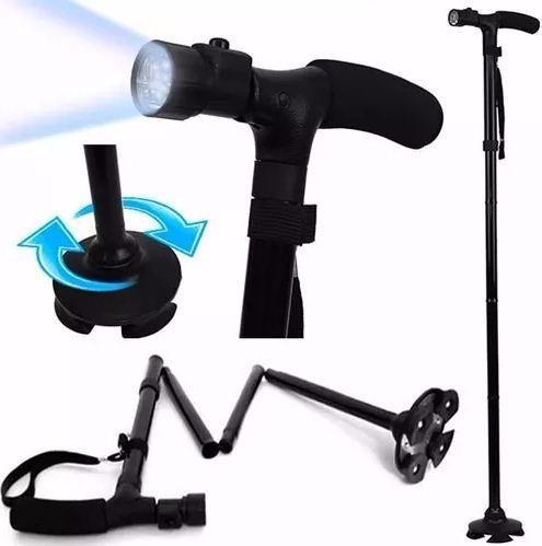 bastón plegable 4 apoyo luz led / mundo descuentos