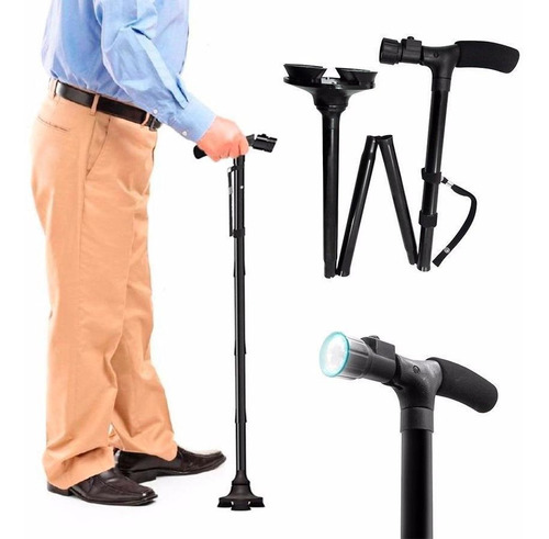 baston plegable ajustable linterna led trusty cane 5 niveles