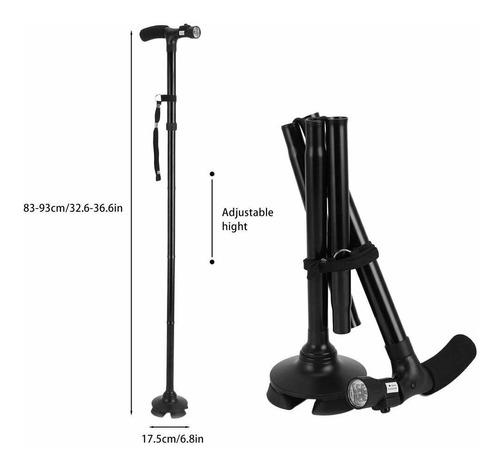 baston plegable con lampara led base 360 grados