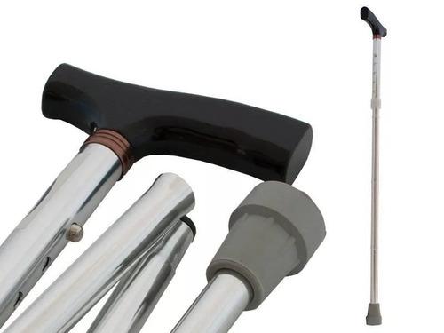 bastón plegable en aluminio ajustable apoyo antideslizante