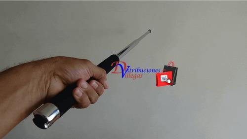 bastón retráctil tambo defensa personal en acero 65 cm fino
