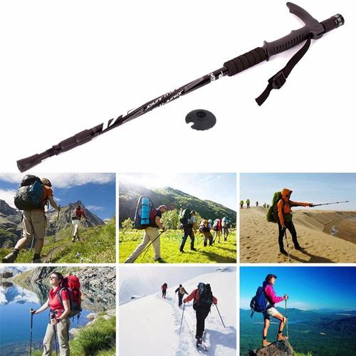 bastón trekking aluminio linterna brújula caminata anti lodo