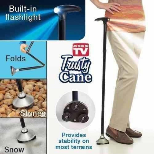 baston trusty cane plegable con luz led, base articulada