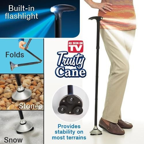 baston trusty cane plegable con luz led,base articulada.