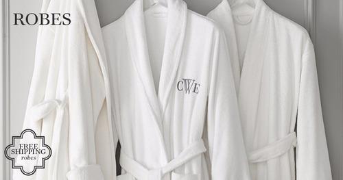 bata baño marcada iniciales blanca + caja lujo