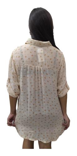 bata camisão estampado com manga saída de praia plus size