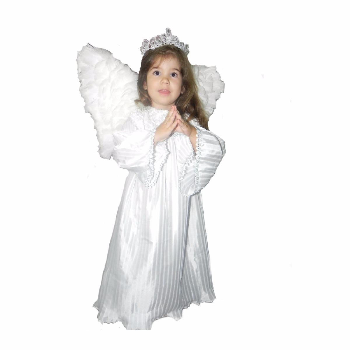 f63b65b90d4e28 Bata De Anjo Para Coroação Tafetá Com Asa E Coroa
