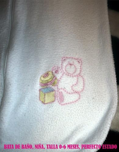 bata de baño niña osito, talla 0-6 meses
