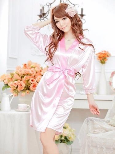 bata de noche sensual y distinguida  rosada lencería