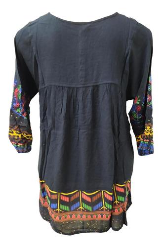 bata estampada manga 3/4 bordada indiana fashion moda boho