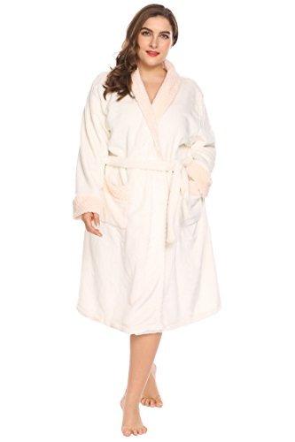 bata kimono baño felpa suave cálida mujeres talla plus size