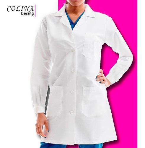 bata medica para dama, enfermeria, odontologo, modelo floral