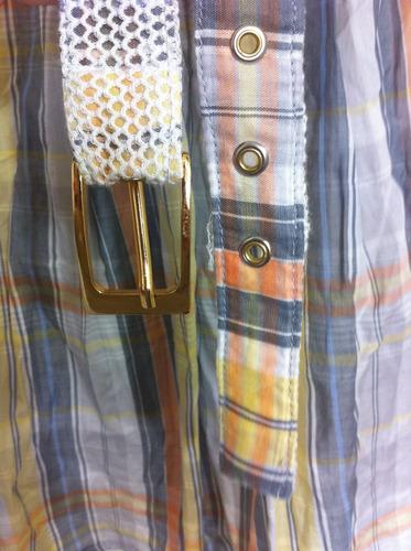 bata mesh listrada c/ cinto p (40) - moda gestante megadose