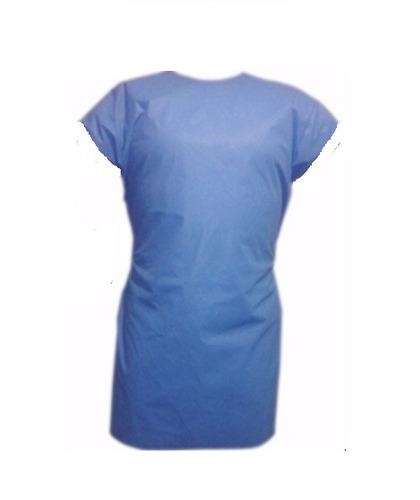 bata paciente desechable sin mangas paq. 10 pz azul y blanco