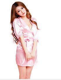 bata pijama rosada con hilo mujer sexy lencería kamelia.me