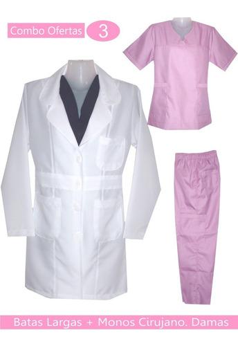 batas largas + uniformes medicos para damas en combo