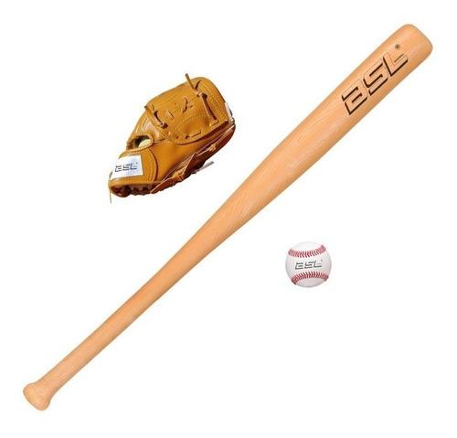 bate baseball 24 ´´+ guante 9 ´´+ pelota beisbol set bsl kit