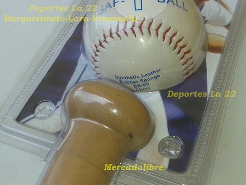bate madera y pelota dixson béisbol kit set combo niños