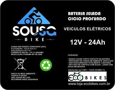 bateria 12v 24ah deep cycle bicicleta moto scooter eletrica