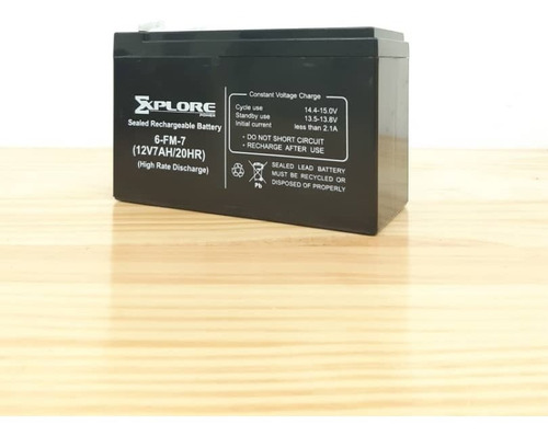 bateria 12v 7 ah explorer power ups, alarmas, cerco e. andyc