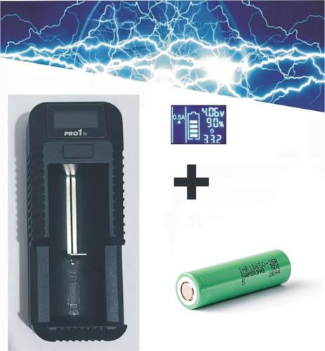 bateria 18650 25r + cargador pila usb vapeo vapeador mod