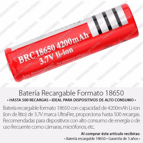 batería 18650 3.7v a 4200mah li-ion pila recargable