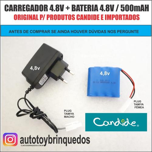 bateria 4.8v 500mah + carregador 4.8v (tamiya)