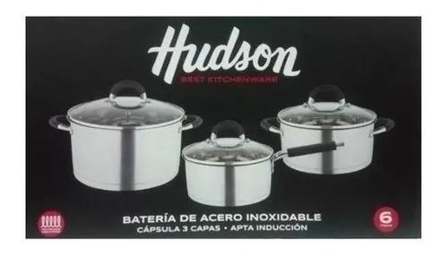 bateria 6 piezas induccion acero triple fondo hudson cacerol