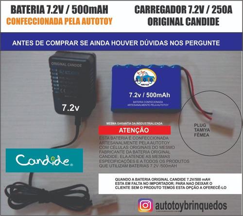 bateria 7.2v 500mah confecionada + carregador 7.2v (tamiya)