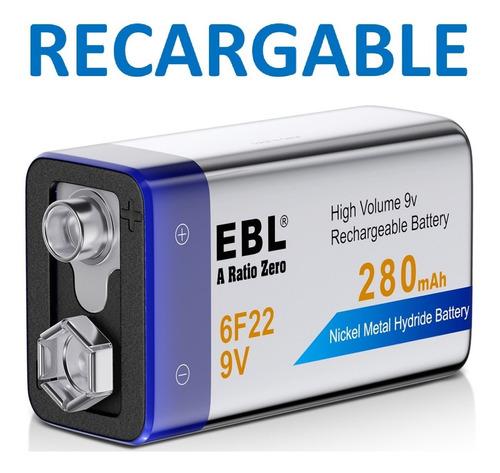 bateria 9v. ebl. recargable. 280mah. ni-mh. 6f22. sellada.