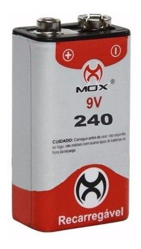 bateria 9v recarregável mox 240 mah original alta qualidade