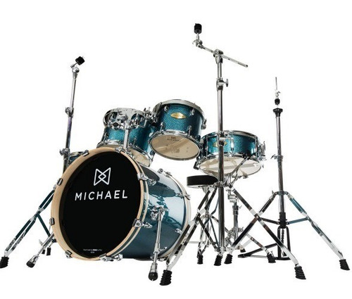 bateria acústica michael elevation dm852 bls c/ bumbo de 20