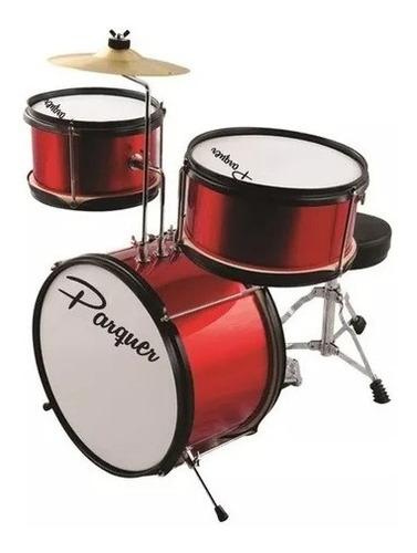 batería acústica parquer niños roja pedal banqueta plato