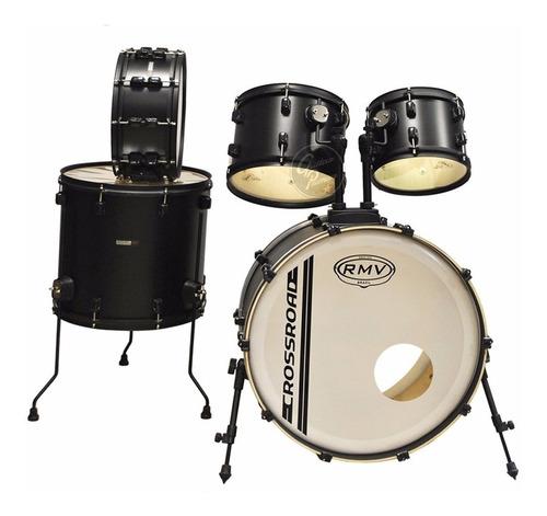 bateria acustica rmv crossroad 5 cpos color negro + parches