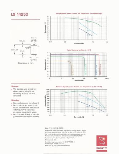 bateria allen bradley 1770-xz plc 3.6v lithium ls14250 saft